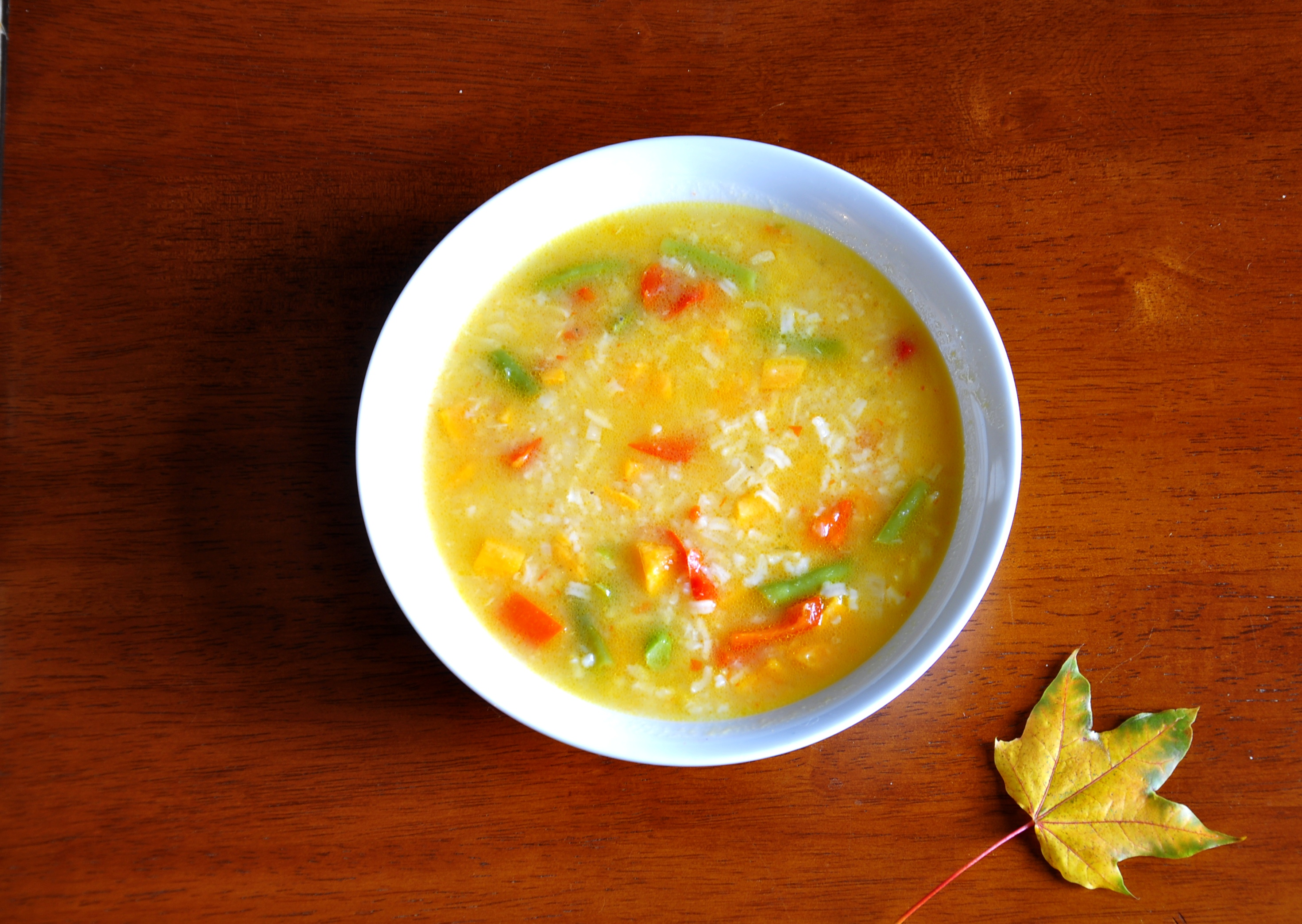 Thick Vegetable Rice Soup | the vegetarian ginger
