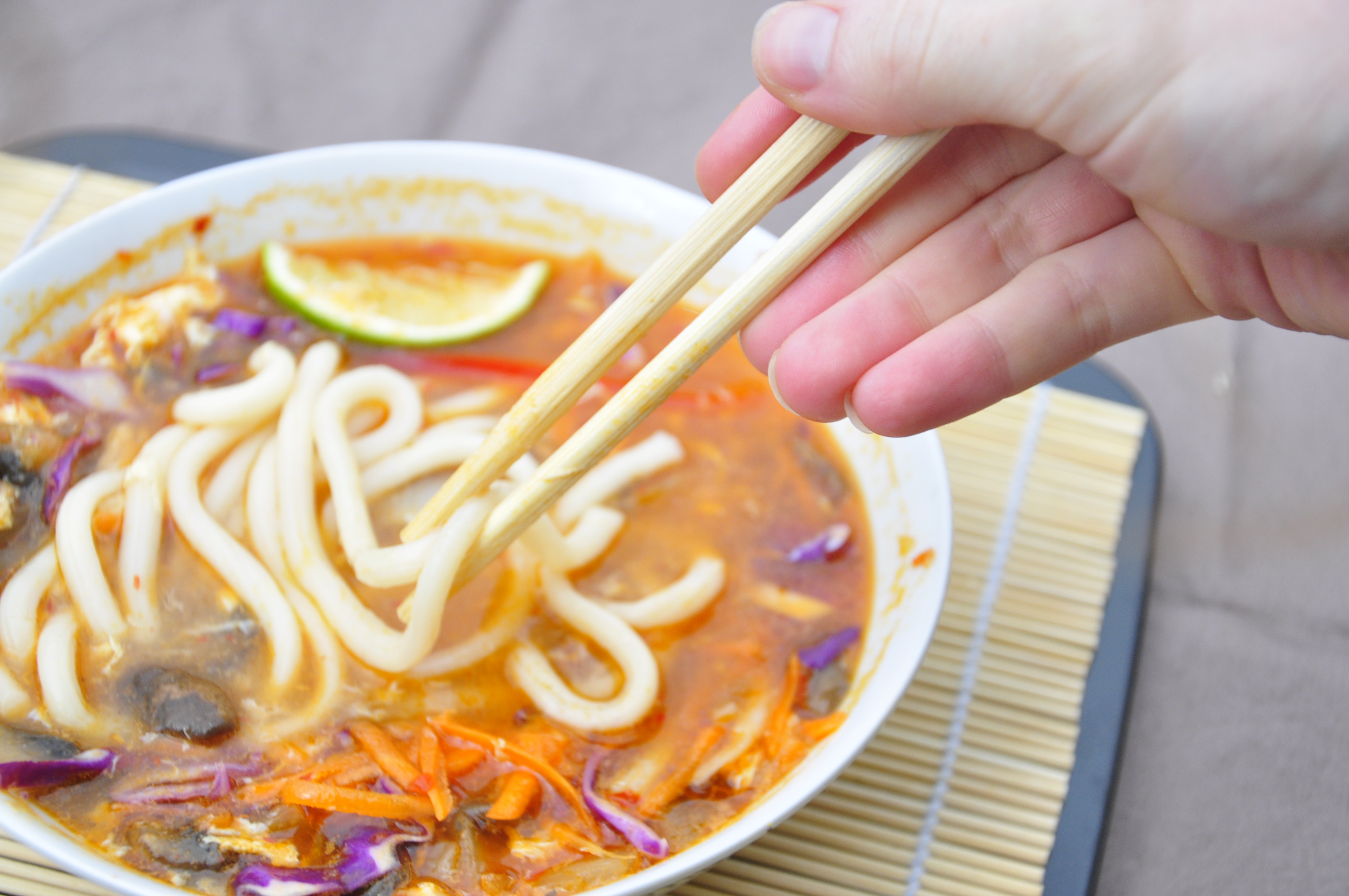 Spicy Udon Noodle Soup | the vegetarian ginger