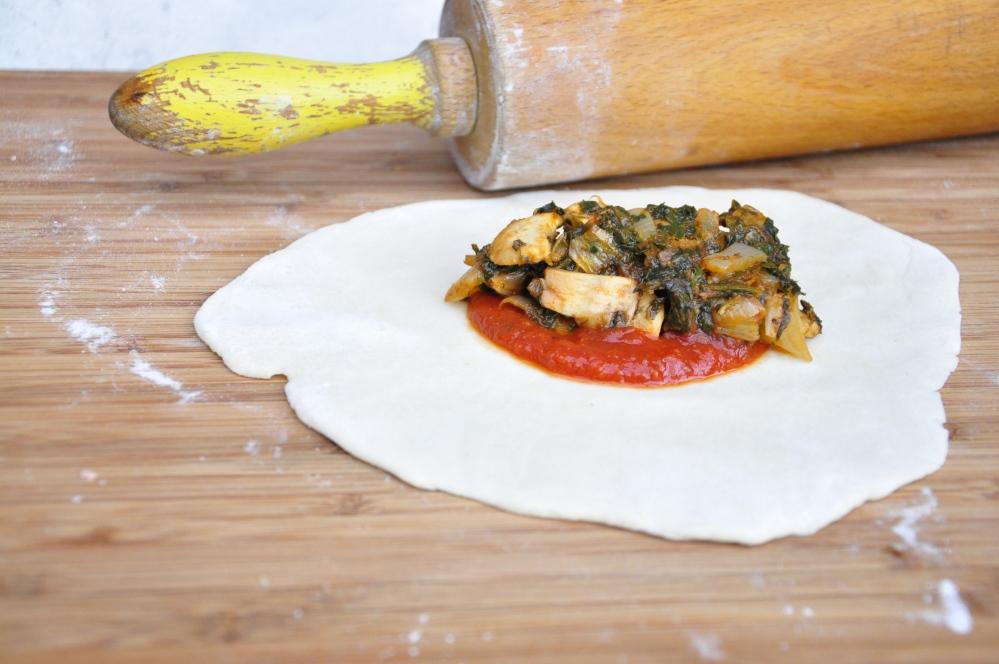 Veggies on dough
