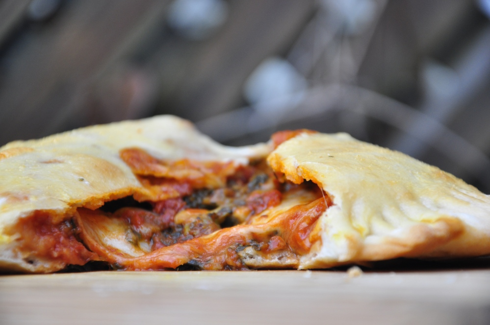 Up-close vegetarian calzone