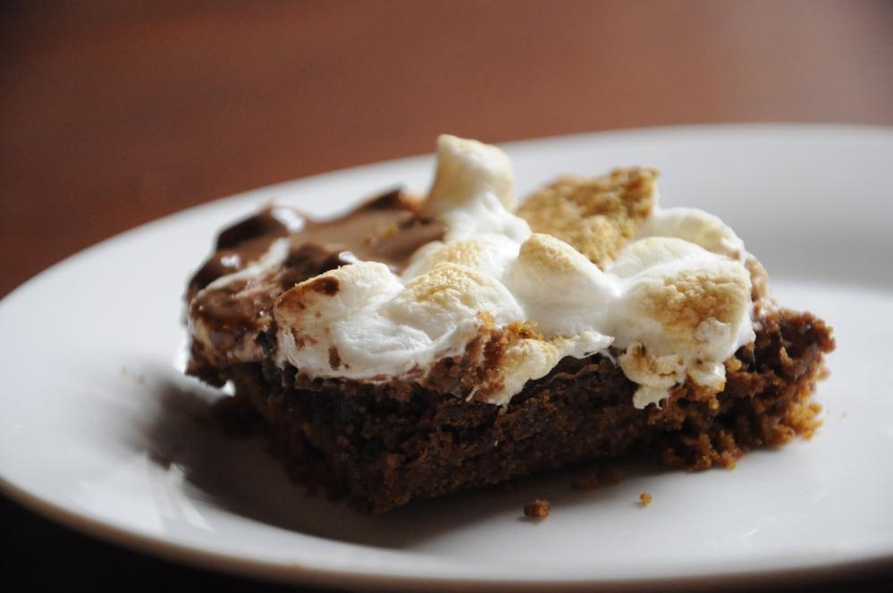 Close up smore brownie