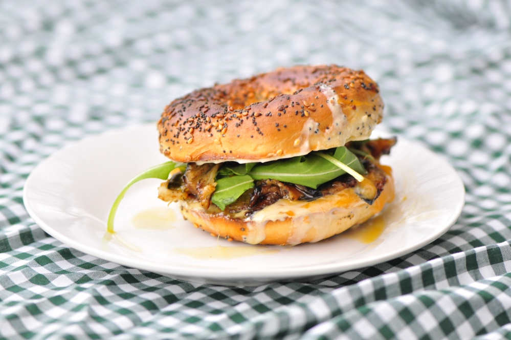 Eggplant and Cheese Bagel Sandwich with Arugula