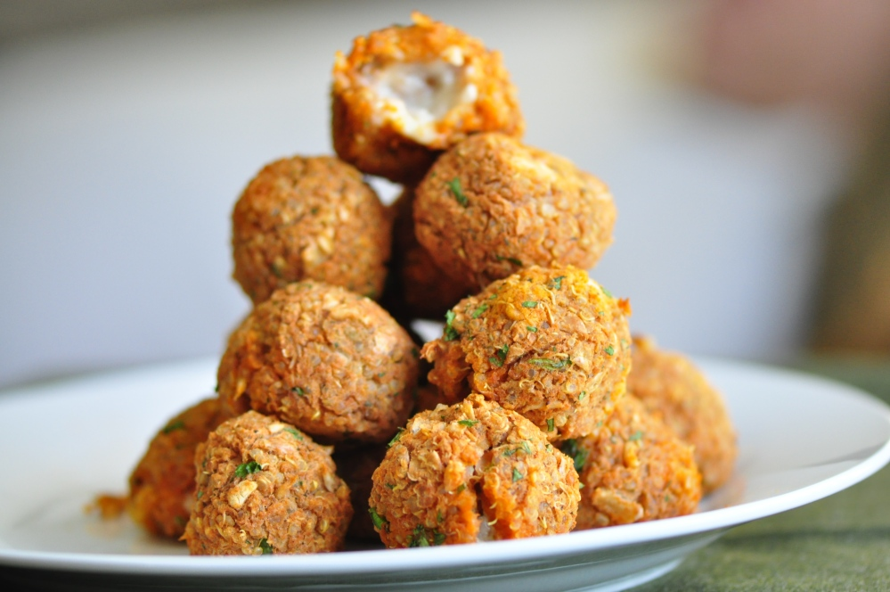 Tower of Quinoa Pizza Balls