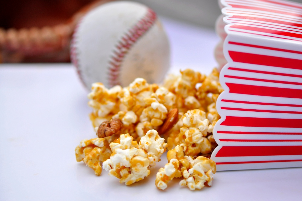 Caramel Corn with baseball