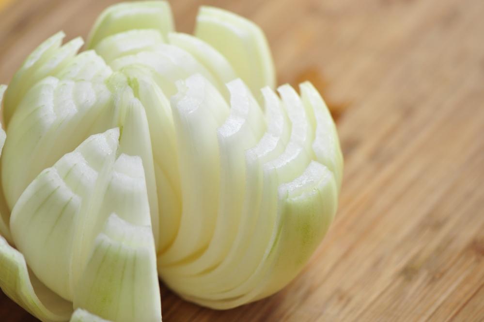 Onion cut in wedges