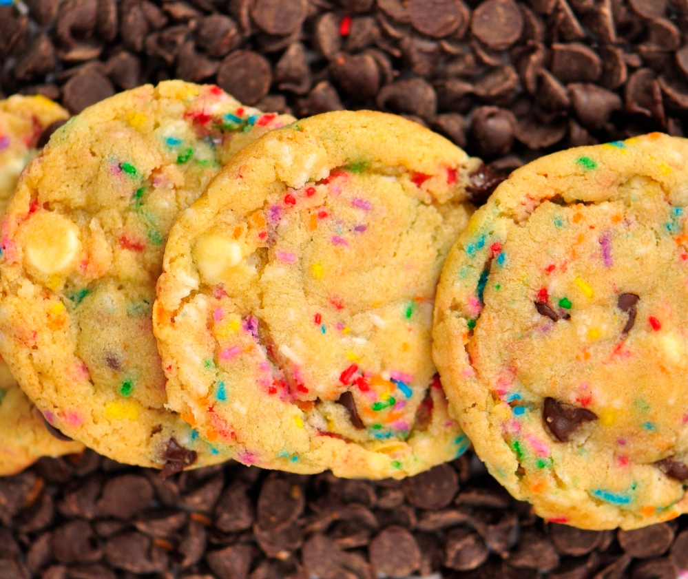 Close-Up Cake Batter Cookies with Sprinkles and Chocolate Chips