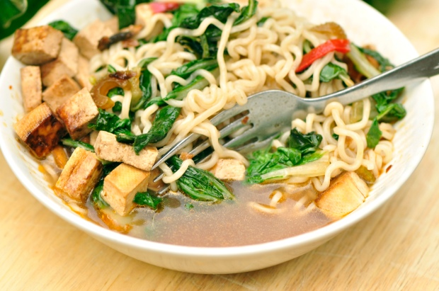 Spicy Bok Choy Ramen Noodles with Marinated Asian Tofu