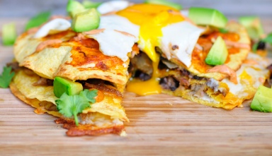 Vegetarian Enchiladas topped with a fried egg
