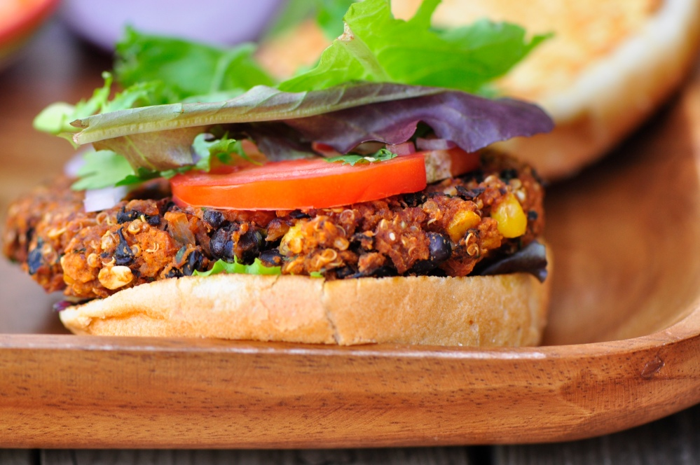 Chipotle Black Bean and Toasted Quinoa Burgers