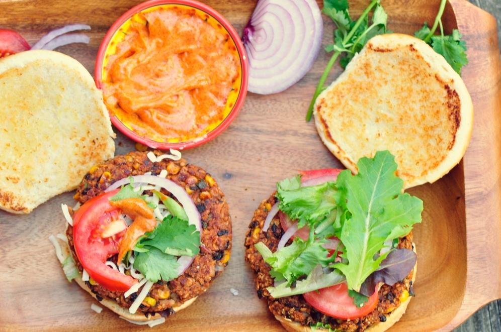 Chipotle Black Bean and Toasted Quinoa Veggie Burgers