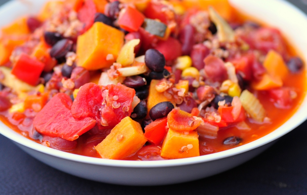 Sweet Potato, Black Bean and Quinoa Chili
