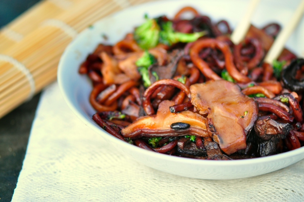 Four-Mushroom Pan Fried Udon Noodle Bowl