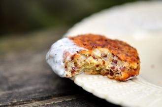 Crispy Quinoa Fritter with a bite