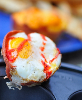 Baked Vegetarian Salami Eggs in Muffin Cups