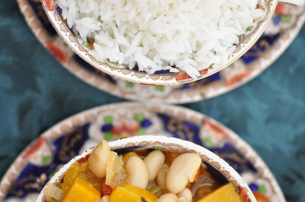 White Bean, Okra and Buttercup Squash Stew