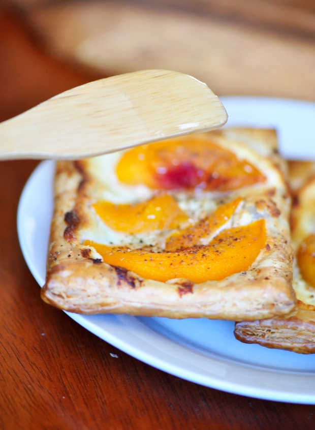 Pepper Peach Tarts with Goat Cheese and Honey