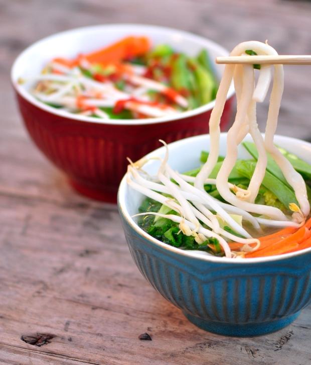vegetarian udon ginger miso soup
